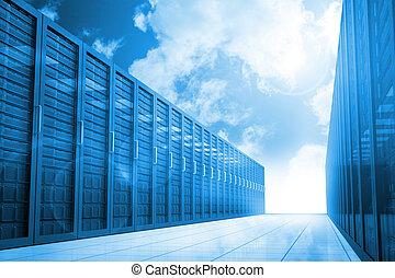 azul, pasillo, cielo, servidor