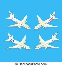 azul, passageiro, civil, aircraft., isolado, ilustração, experiência., vetorial, aviation., avião