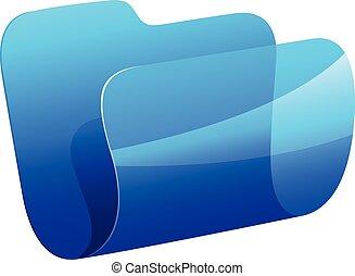 azul, pasta, ícone
