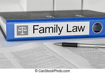 azul, pasta, com, a, etiqueta, família, lei