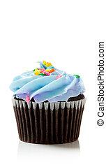 azul, pastel, chocolate branco, cupcake