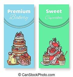 azul, pasteles, cupcakes, prima, illustration., napoleon,...