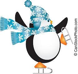 azul, patinaje, ilustración, hielo, sombrero, pingüino