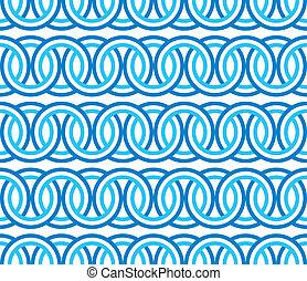 azul, patrón, círculo, seamless, cadena