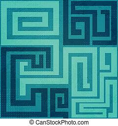 azul, patrón, espiral, seamless