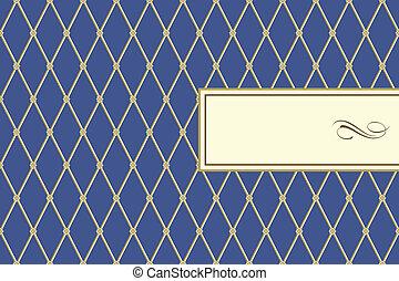 azul, patrón, marco, tartán, vector