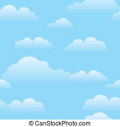 azul, patrón, repetir, nubes, cielo
