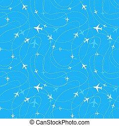 azul, patrón,  seamless, línea aérea, aviones, rutas, Cielos