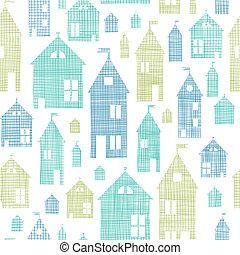azul, patrón, seamless, textura, textil, casas, fondo verde