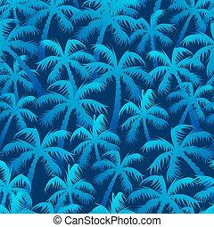 azul, patrón, seamless, tropical, palma, bosque