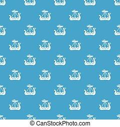 azul, patrón, seamless, vector, barco militar