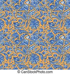 azul, patrón, tribal, naranja, creativo