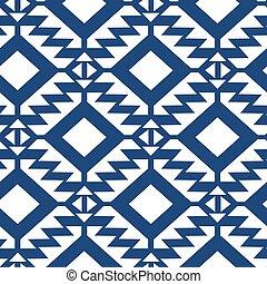 azul, patrón, tribal, seamless, blanco, geométrico