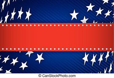 azul, patriótico, branca, ilustração, vermelho