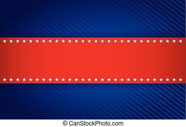 azul, patriótico, diseño, rojo, ilustración
