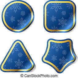 azul, pattern., adesivos, snowflake, natal
