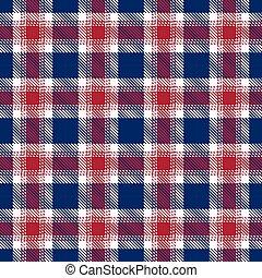 azul, patterns., seamless, patriótico, tartán, rojo blanco
