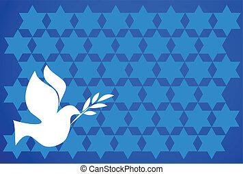 azul, paz, paloma, plano de fondo