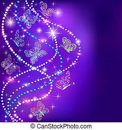 azul, pedras, estrelas, ilustração, borboletas, fundo, precioso
