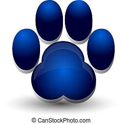 azul, pegada, cão, logotipo