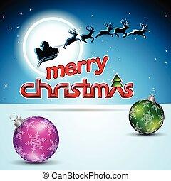 azul, pelotas, santa, encima, ilustración, vector, reindeers, plano de fondo, navidad