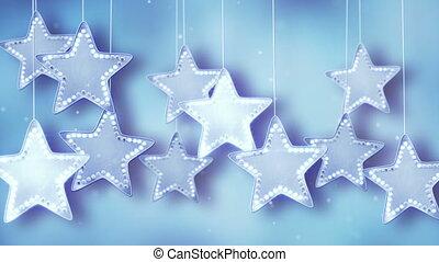 azul, penduradas, estrelas, luzes natal