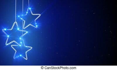 azul, penduradas, estrelas, volta, fundo