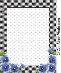 azul, pensamiento, flores, cheque, marco