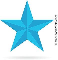 azul, pentagonal, estrela, ícone