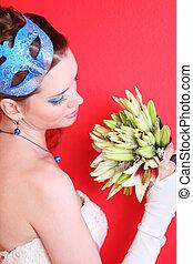 azul, penteado, lírios, buquet, maquilagem, máscara, noiva, olha, fundo, vermelho