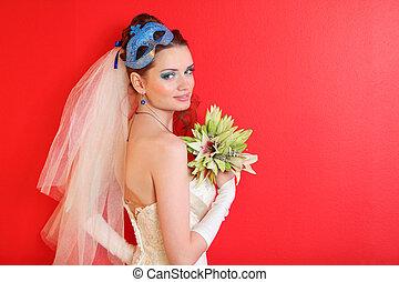azul, penteado, lírios, maquilagem, buquet, segura, máscara, noiva, fundo, sorrindo, vermelho