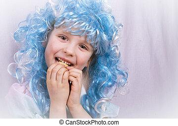 azul, pequeno, comer, cabelo, biscoito, menina