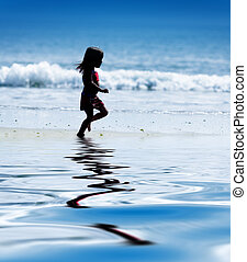 azul, pequeno, executando, menina, oceânicos