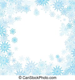 azul, pequeno, quadro, snowflakes, retangular