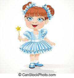 azul, pequeno, tutu, balé, menina