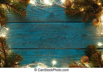 azul, perímetro, guirnalda, abrasador, de madera, foto, año,...