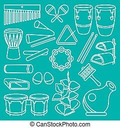 azul, percussão, Instrumentos