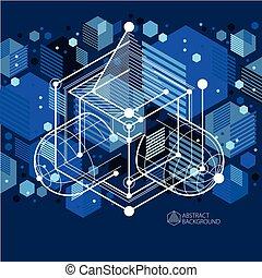 azul, perfeitos, isometric, cubo, vetorial, criado, parts., linhas, mecanismo, seu, abstratos, engenharia, malha, desenho, fundo, mecânico, pretas, desenho, esquema, style., projetos