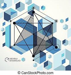 azul, perfeitos, isometric, cubo, vetorial, criado, parts., linhas, mecanismo, style., abstratos, engenharia, malha, desenho, fundo, desenho mecânico, esquema, seu, projetos
