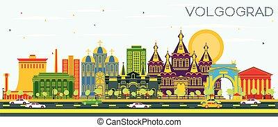 azul, perfil de ciudad, volgograd, sky., edificios, rusia,...