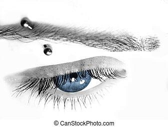 azul, perforar, ojo, y