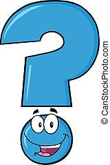 azul, pergunta, feliz, personagem, marca