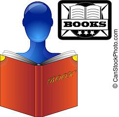 azul, persona, leer un libro