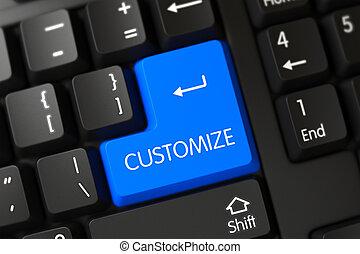 azul, personalice, llave, en, keyboard., 3d.