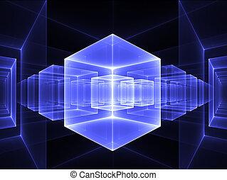 azul, perspectiva, cúbico