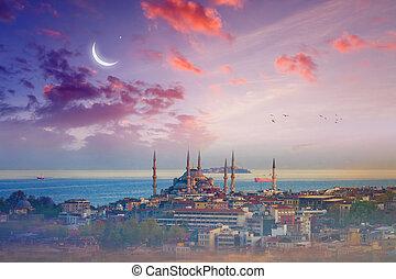 azul, peru, istambul, glowing, pôr do sol, mesquita, crescente