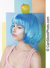 azul, peruca, cabeça, mulher, maçã, dela, imagination., asiático