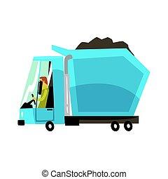 azul, pesado, carvão, entulho, dever, vetorial, caminhão, ilustração, frete, caricatura, transporte