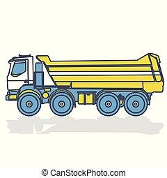 azul, pesado, contorno, amarillo, camión, blanco