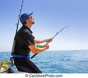 azul, pescador, offshore, mar, bote, pesca